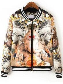 Multicolor Stand Collar Gargoyle Print Jacket