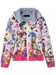 Multicolor Hooded Floral Zipper Jacket
