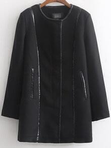 Black Long Sleeve Zipper Contrast Trims Coat