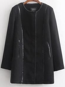 Black Long Sleeve Zipper Contrast Trims Coat