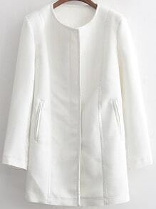White Long Sleeve Zipper Contrast Trims Coat
