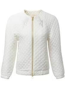 White Casual Diamond Pattern Zipper Coat