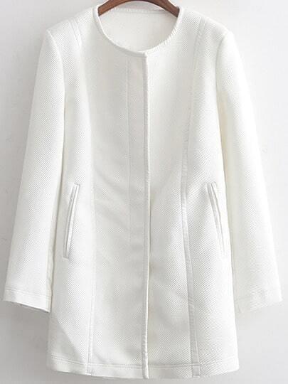 White Long Sleeve Zipper Contrast Trims Coat