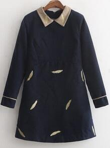 Navy Contrast Collar Feather Embroidered Dress