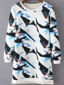 Multicolor Round Neck Crane Print Straight Dress
