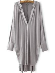 Grey Deep V Neck Asymmetrical Loose Dress