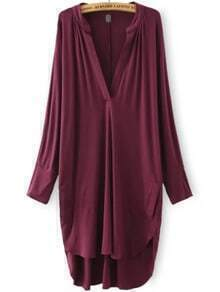 Red Burgandy Deep V Neck Asymmetrical Loose Dress