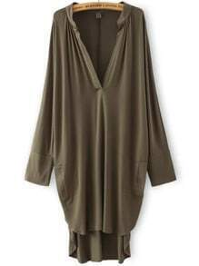 Army Green Deep V Neck Asymmetrical Loose Dress