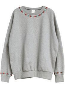 Grey Round Neck Embroidered Loose Sweatshirt