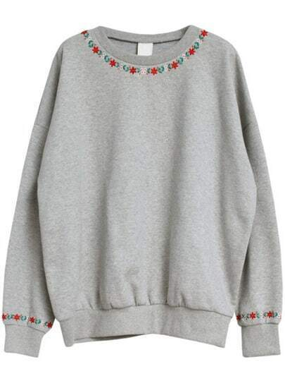 Grey Round Neck Embroidered Loose Sweatshirt