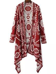 Red Tribal Geometric Print Knit Cape