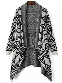 Black Grey Geometric Print Vintage Knit Cape