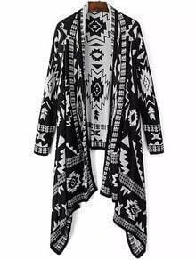 Black Tribal Geometric Print Knit Cape