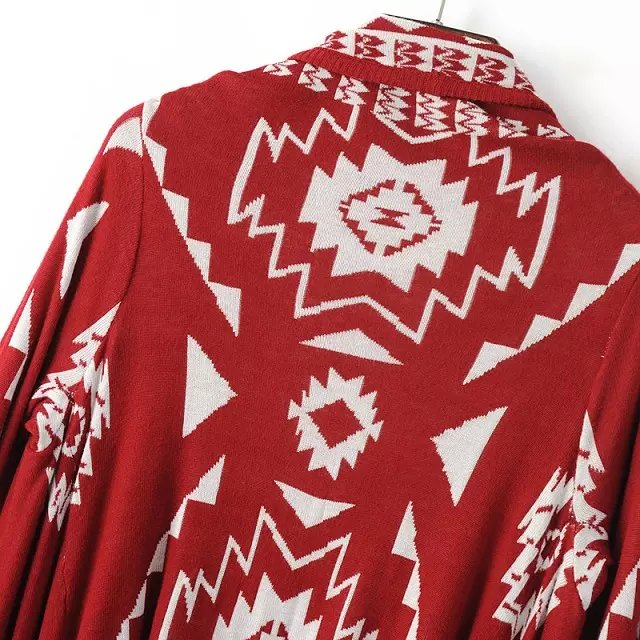 Red Tribal Geometric Print Knit Cape -SheIn(Sheinside)