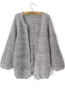 Grey Long Sleeve Rivet Studs Knit Cardigan