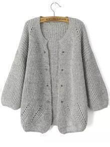 Light Grey Long Sleeve Rivet Studs Knit Cardigan