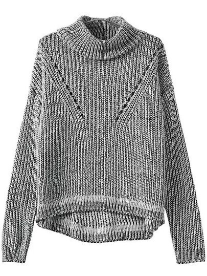 Grey High Neck Hollow Knit Sweater