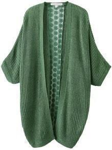 Green Casual Contrast Lace Knit Cardigan