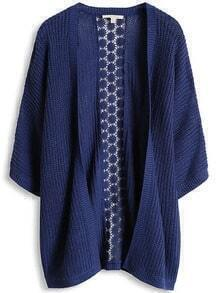 Blue Casual Contrast Lace Knit Cardigan