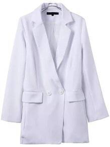 White Notch Lapel Double Breasted Blazer Jumpsuit
