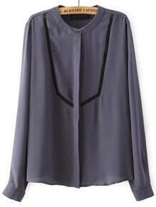 Grey Stand Collar Contrast Organza Chiffon Blouse