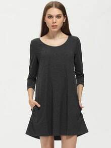 Grey Charcoal Long Sleeve Pockets Dress