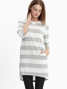 Grey White Banded Half Sleeve Striped Dress