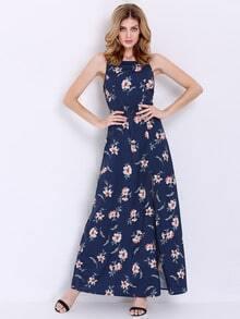 Navy Spaghetti Strap Floral Split Maxi Dress