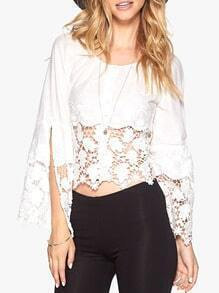 White Long Sleeve With Lace Crop Top