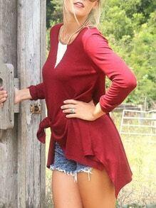 Wine Red Long Sleeve Asymmetric T-Shirt