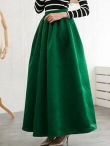 Green High Waist Flare Skirt