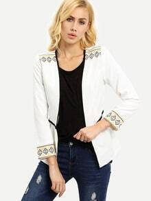 White Long Sleeve Embroidered Blazer