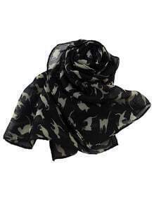 Latest Design Black Chiffon Knitted Leopard Printed Fashionable Scarf