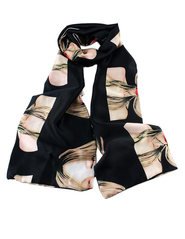 Beautiful Girl Printed Knitted Scarf
