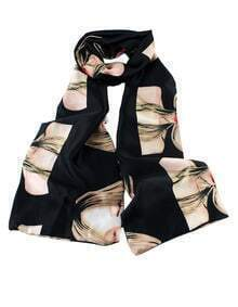 Fashionable Black Style Beautiful Girl Printed Knitted Scarf