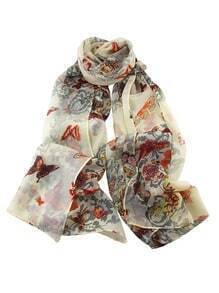 Gray Flower Butterfly Printed Voile Fashionable Scarf
