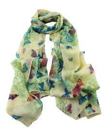 Green Flower Butterfly Printed Voile Fashionable Scarf