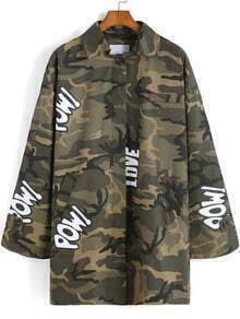 Green Lapel Camouflage Letters Pritn Coat
