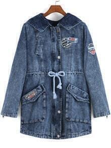 Blue Lapel Drawstring Pockets Denim Coat