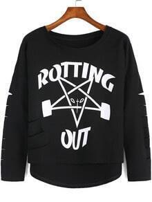 Black Cut-out Letters Print Dip Hem Sweatshirt