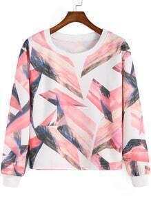Pink Round Neck Geometric Print Crop Sweatshirt