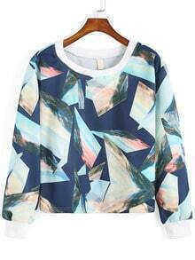 Blue Round Neck Geometric Print Patterned Crop Sweatshirt