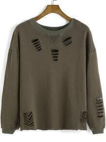 Army Green Round Neck Ripped Sweatshirt