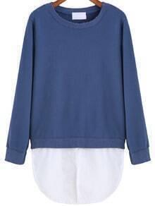 Blue Round Neck Contrast Hem Sweatshirt