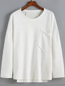 White Round Neck Pocket Loose Sweatshirt