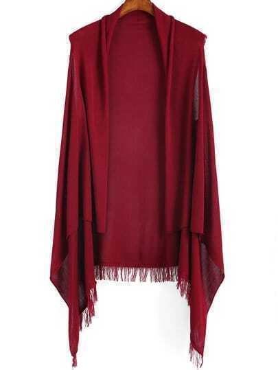 Wine Red Sleeveless Tassel Knit Cardigan