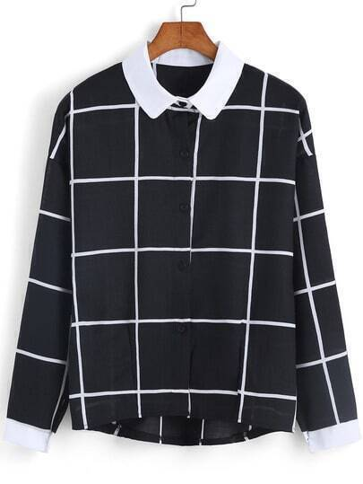 Black White Lapel Checks Plaid Loose Blouse