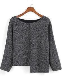 Grey Round Neck Asymmetrical Crop Top