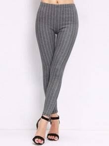 Grey Slim Vertical Stripe Leggings