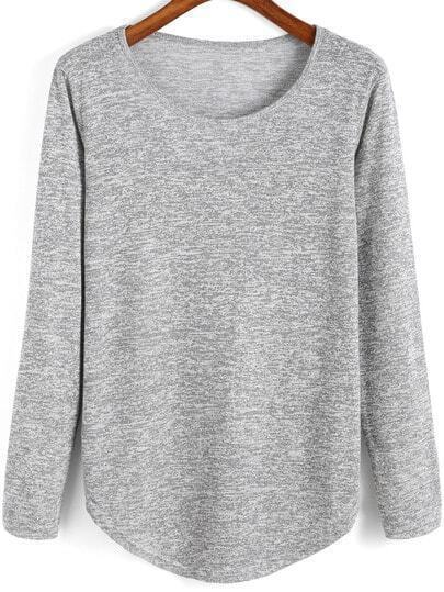 Grey Round Neck Curved Hem T-Shirt
